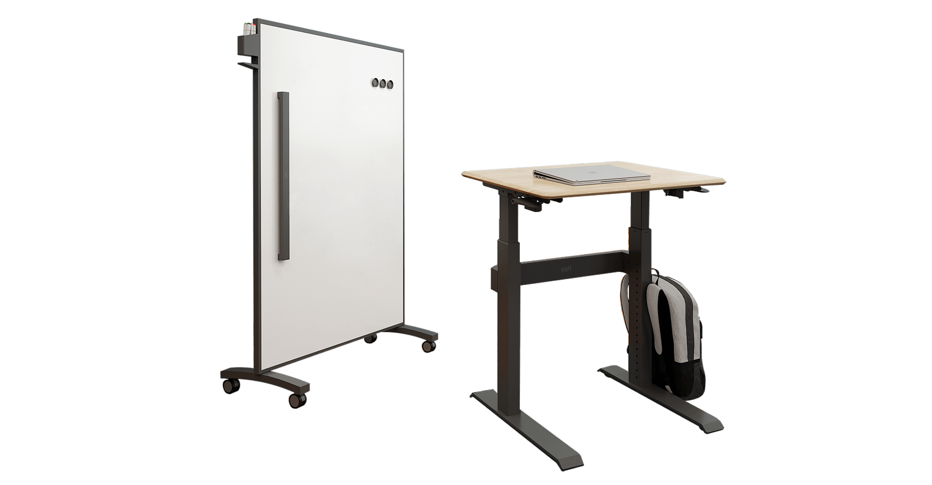 height-adjustable classroom desk and markerboard
