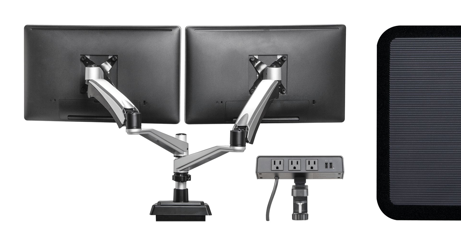 variety of accessories, including a standing mat, a powerhub for power solutions on the desktop, and dual monitor arms to hold monitors off the desk
