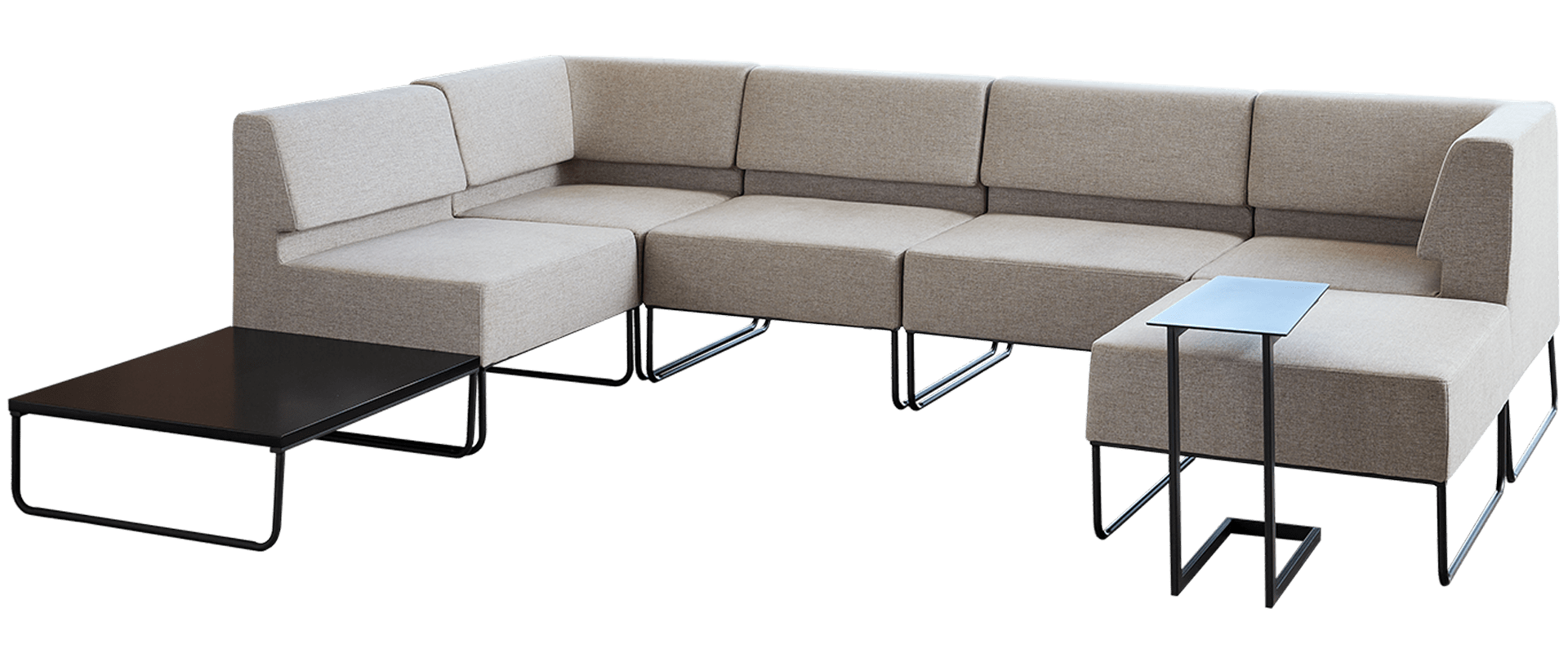 sectional sofa with various tables