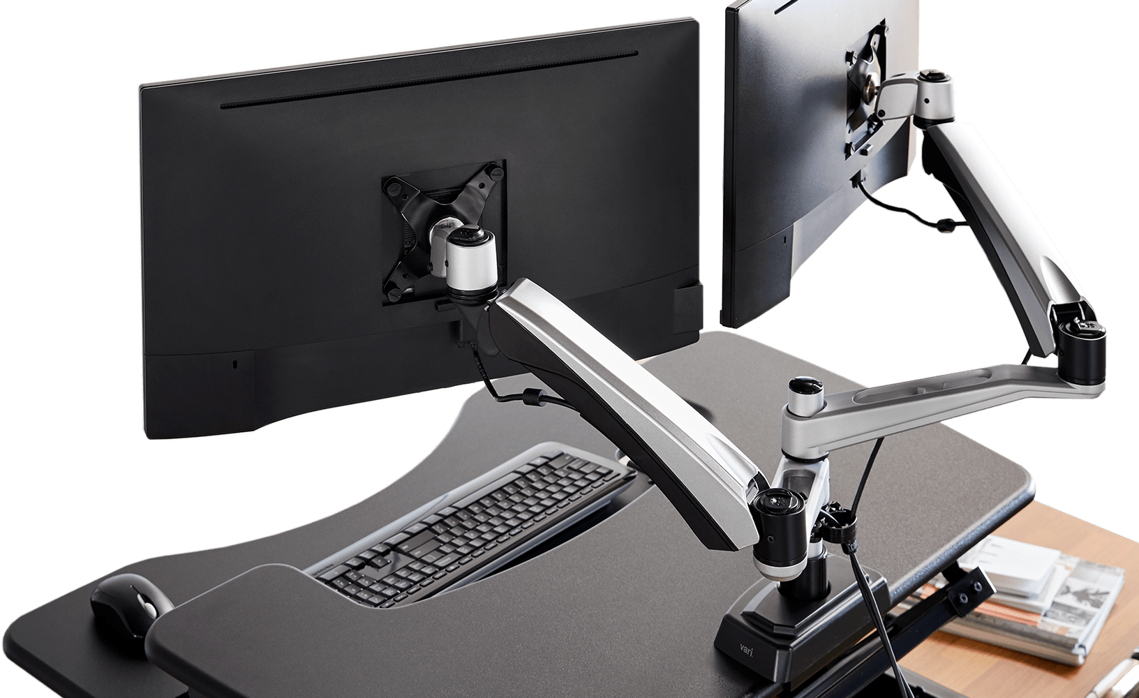 monitor arms with monitor attached
