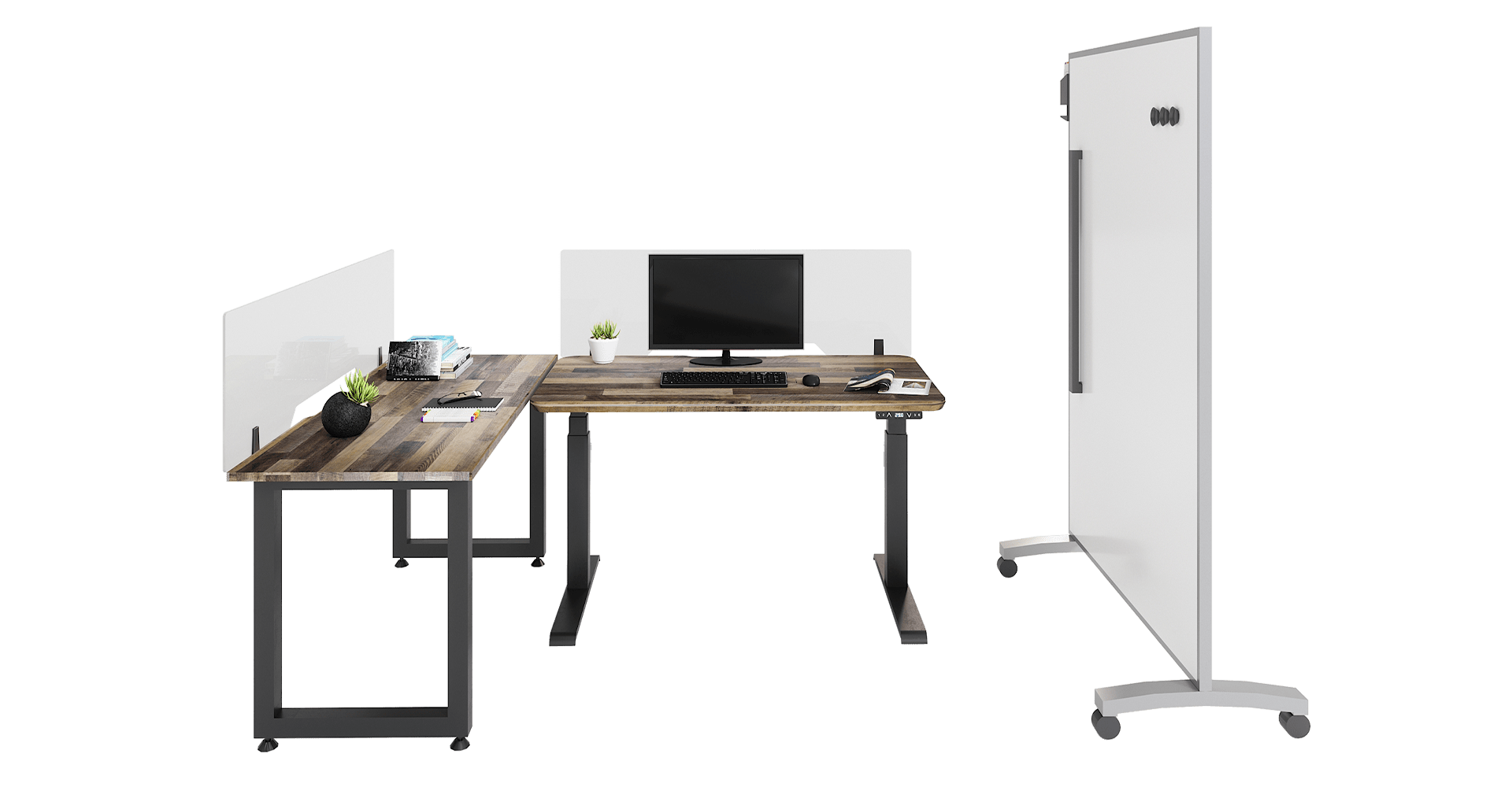 socially distanced personal workstation made with vari products