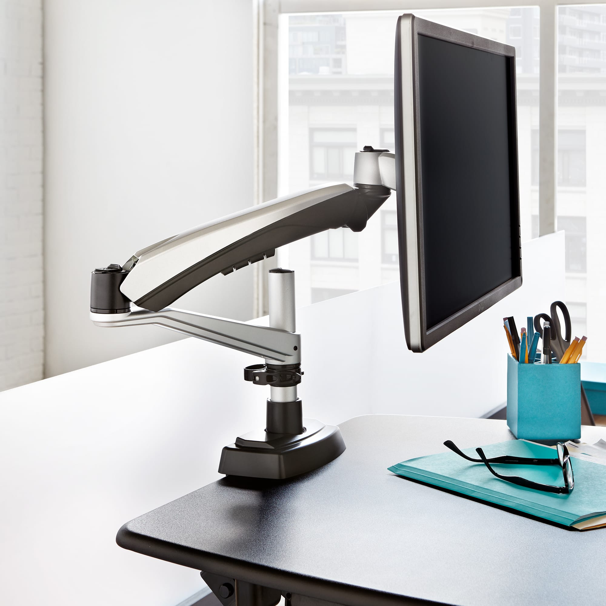 Single TV Computer Monitor Desk Articulating Mount Arm Stand Up To Wall Ergo